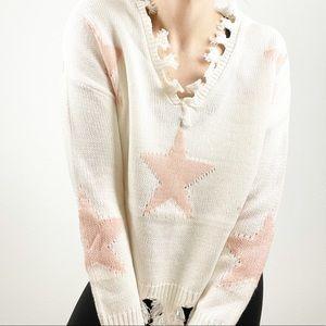 Sweet Sinful Star Print Fringe V Neck Sweater M